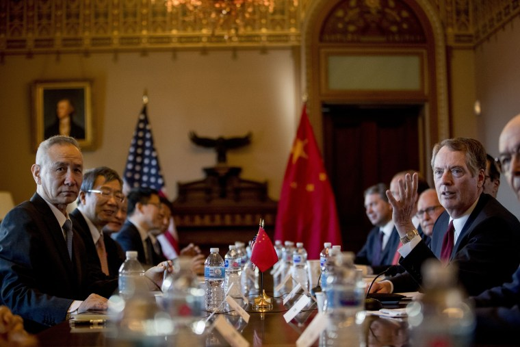 Image: U.S. Trade Representative Robert Lighthizer, right, meets with Chinese Vice Premier Liu He, left, as they being U.S.-China trade talks in Washington on Jan. 30, 2019.