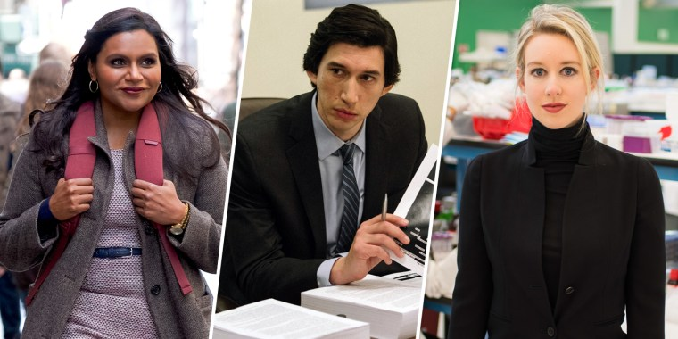 Mindy Kaling in Late Night, Adam Driver in The Report, and Elizabeth Holmes apart of The Inventor.