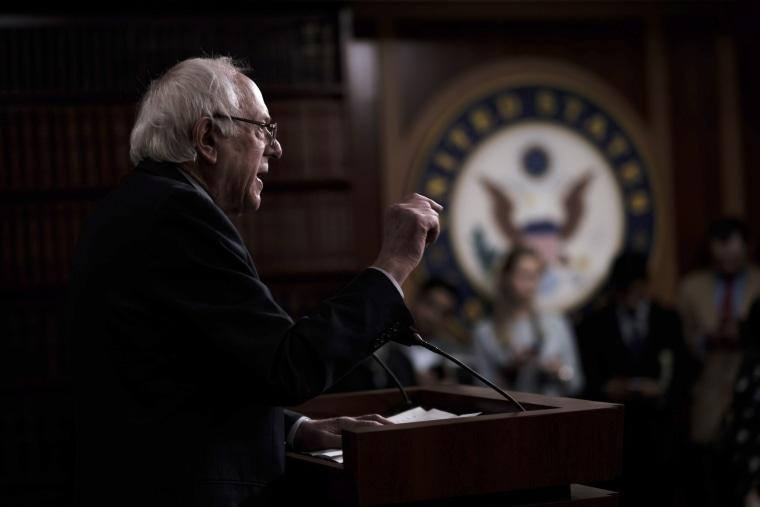 Image: Sen. Bernie Sanders, I-VT, speaks at a press conference on Capitol Hill on Jan. 30, 2019.