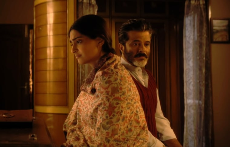 "Image: The real-life father-daughter duo of Sonam Kapoor, left, and Anil Kapoor play family in \""Ek Ladki Ko Dekha Toh Aisa Laga.\"""