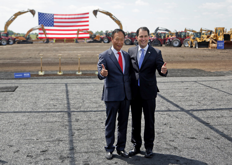 U.S. President Donald Trump participates in the Foxconn Technology Group groundbreaking ceremony for its LCD manufacturing campus, in Mount Pleasant