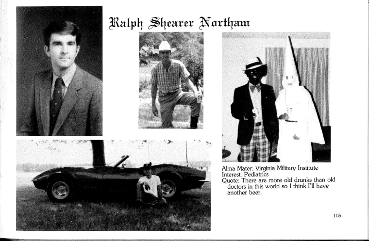 A photo on Ralph Northam's page in the Eastern Virginia Medical School's 1984 yearbook appears to show a man in blackface.