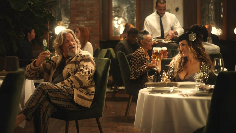 Image: Sarah Jessica Parker and Jeff Bridges appear in a Super Bowl ad for Stella Artois.