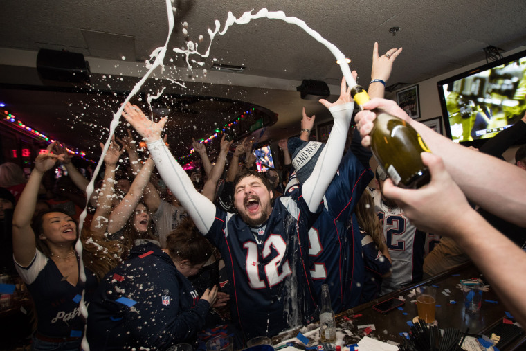 Image: Boston Area Football Fans Gather Watch Super Bowl LIII, The New England Patriots vs The Los Angeles Rams