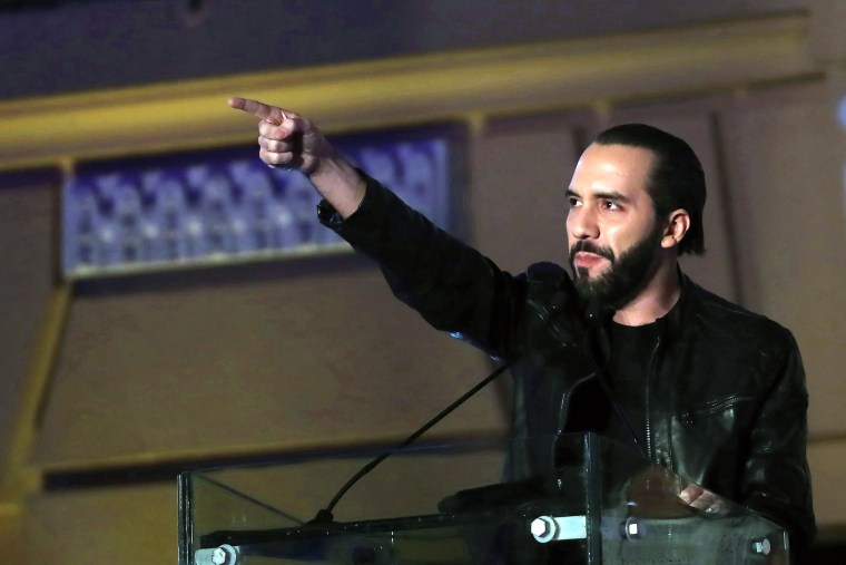 Image: Nayib Bukele speaks after winning the presidential election with more than 53 percent of the vote in El Salvador on Feb. 3, 2019.