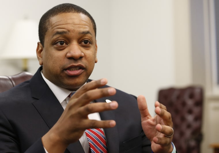 Image: Virginia Lt. Gov. Justin Fairfax speaks at his office in Richmond on Feb. 2, 2019.