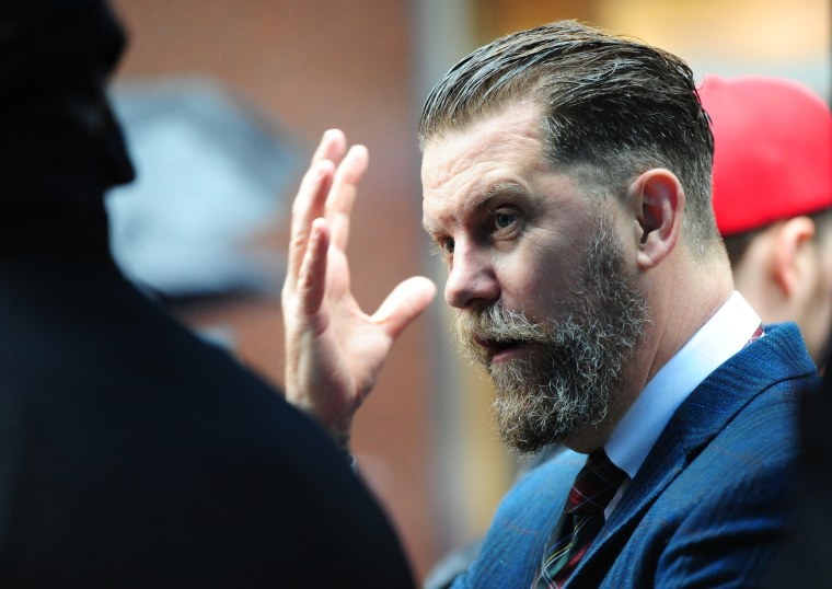 Gavin McInnes attends an Alt-right rally in front of CUNY in New York on May 25, 2017.