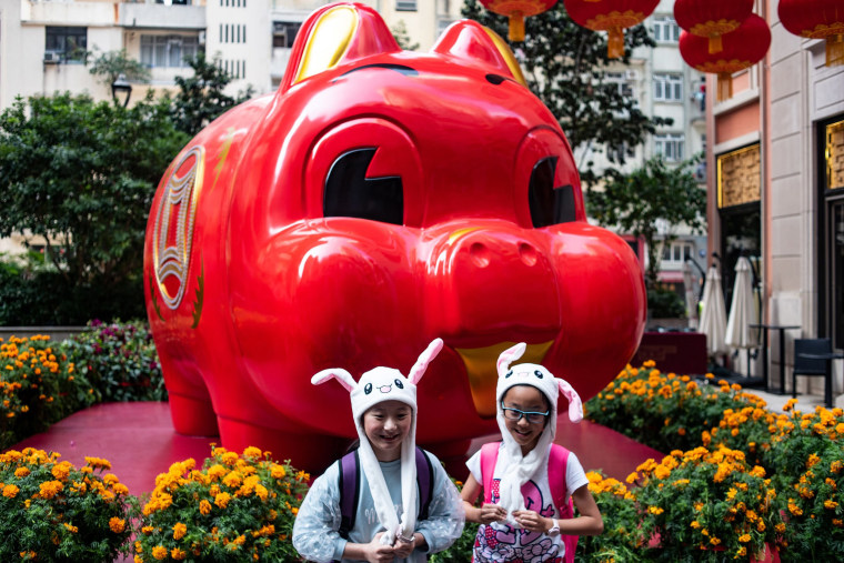 Image: Children in animal hats pose in front of a pig giant pig installation ahead of the Lunar New Year in Hong Kong