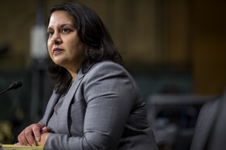 Image: Neomi Rao, nominee for the U.S. circuit judge for the District of Columbia, testifies during her confirmation hearing on Capitol Hill on Feb. 5, 2019.