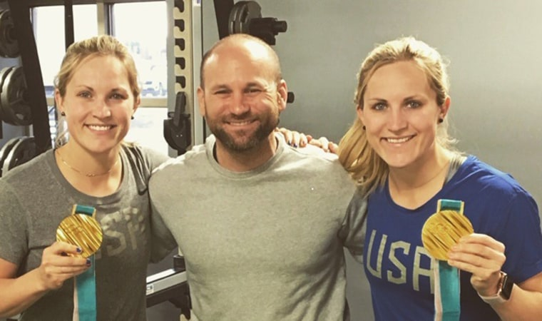 From left to right: Jocelyne Lamoureux-Davidson, trainer Anthony Morando and Monique Lamoureux-Morando. The Lamoureux twins, Olympic gold medalists, trained with Anthony Morando throughout their pregnancies.