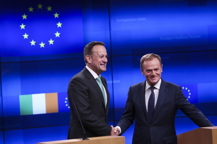 Image: Irish Prime Minister Leo Varadkar, left, shakes hands with European Council President Donald Tusk