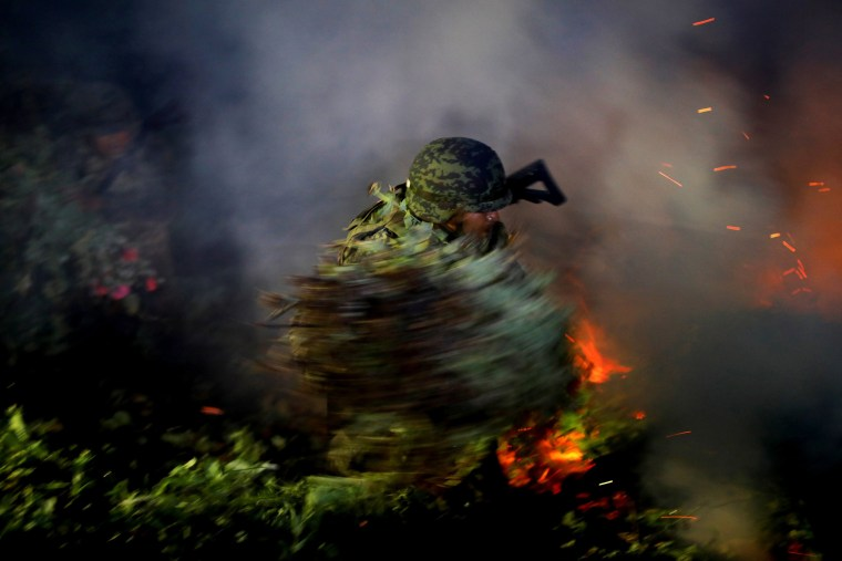 Image: A soldier burns an illegal opium plantation near Pueblo Viejo in the Sierra Madre del Sur, in Guerrero, Mexico, on Aug. 24, 2018.