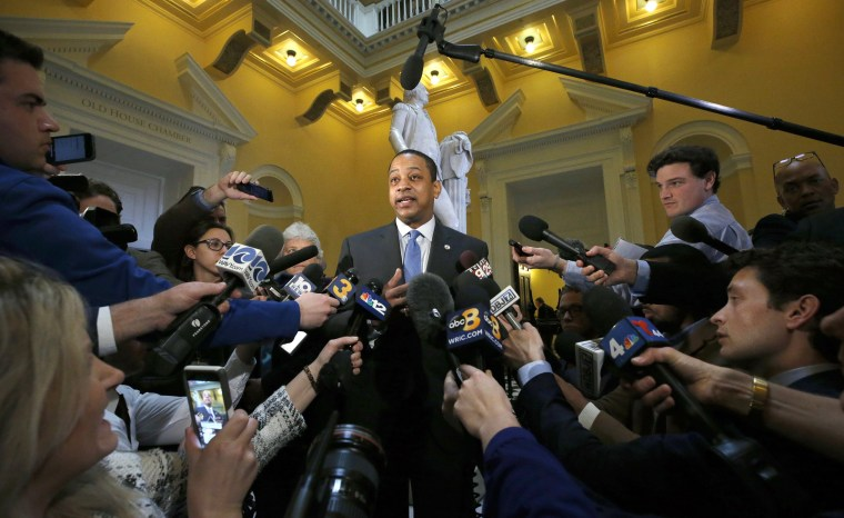 Image: Virginia Lt. Gov. Justin Fairfax speaks to the media inside the State Capitol in Richmond on Feb. 4, 2019.