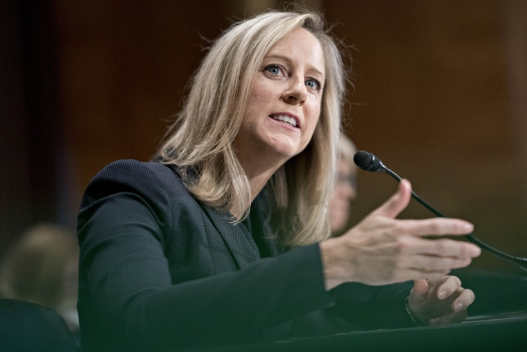 Image: Kathy Kraninger speaks during a Senate Banking Committee confirmation hearing in Washington on July 19, 2018.