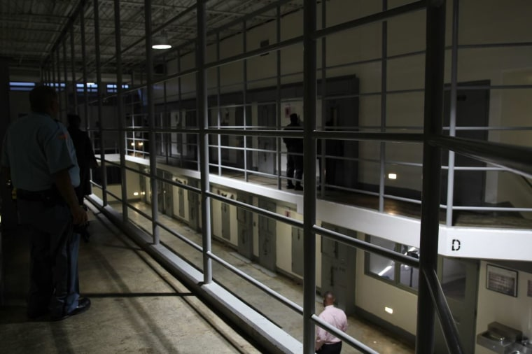 Image: The D-Wing inside the Special Management Unit (SMU) at the Georgia Diagnostic and Classification Prison.