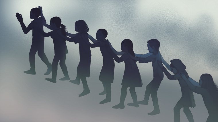 Illustration of children evacuating school.
