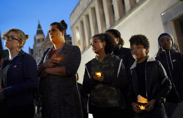 Image: Protestors attend a mock funeral to symbolize what they call the death of the Democratic Party outside the Virginia State Capitol