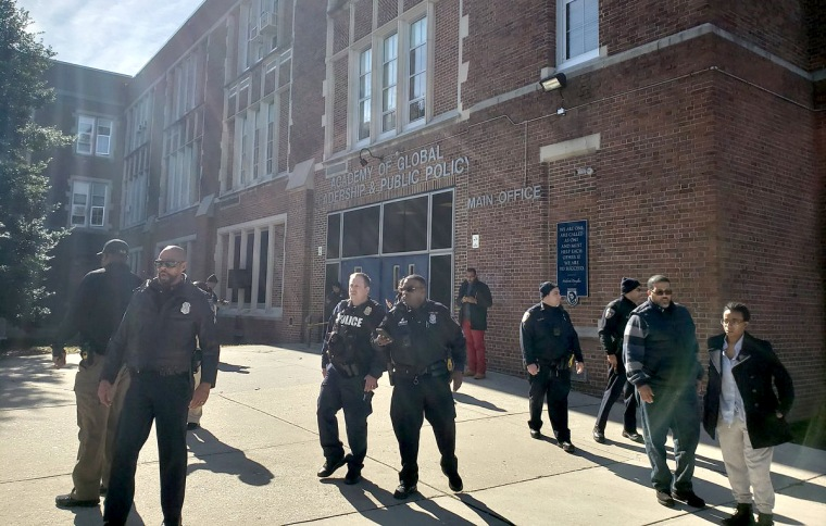 There was heavy police presence at Frederick Douglass High School in Baltimore following shooting of one person inside, on Feb. 8, 2019.