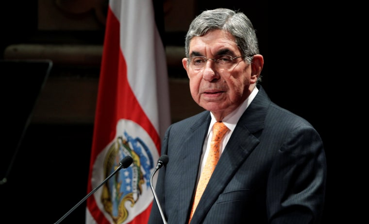 Image: Costa Rica's former president and 1987 Nobel Peace Laureate Oscar Arias, gives a speech during the celebration of the 25th Anniversary of the Central America Peace Agreement, at the National theatre in San Jose