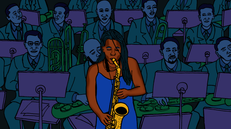 Illustration of Tia Fuller performing in a sea of men.