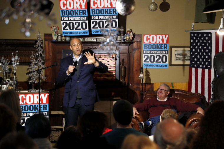 Image: Sen. Cory Booker, D-NJ, speaks at a meet and greet with locals in Marshalltown, Iowa, on Feb. 9, 2019.