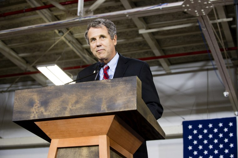 Image: Sen. Sherrod Brown, D-Ohio, speaks at a campaign rally in Cleveland on June 13, 2016.