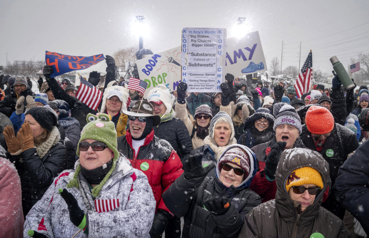 Image: Supporters of Sen. Amy Klobuchar cheer before her announcement to run for president in Boom Park, Minneapolis, on Feb. 10, 2019.