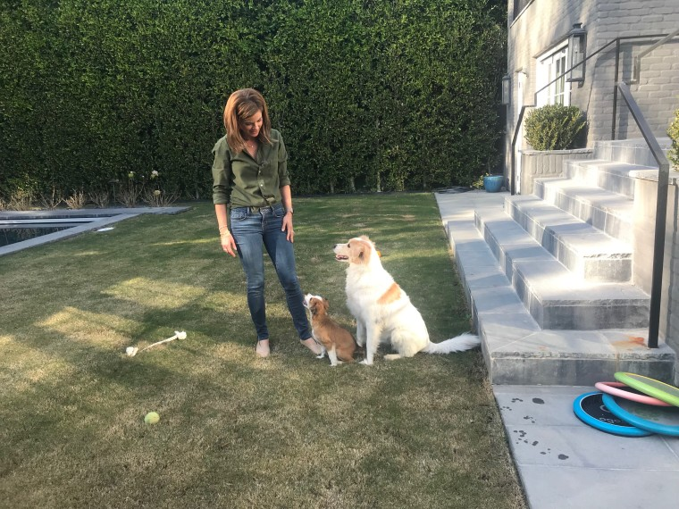 Morales with her two dogs, Zara and Obi, at her home in California.
