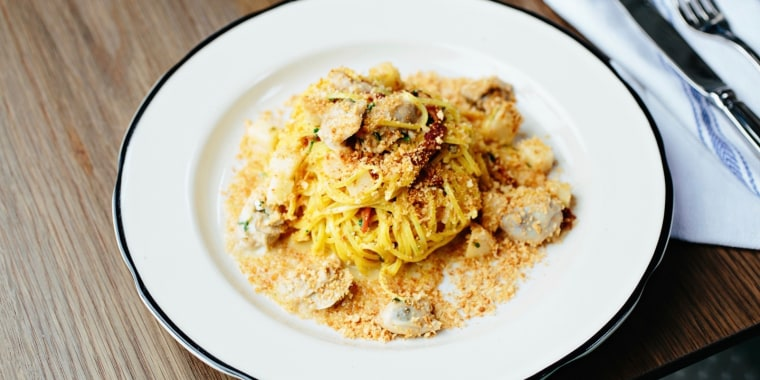 The Darling Oyster Bar's Oyster Spaghetti uses classic Southern ingredients with an Italian spin.