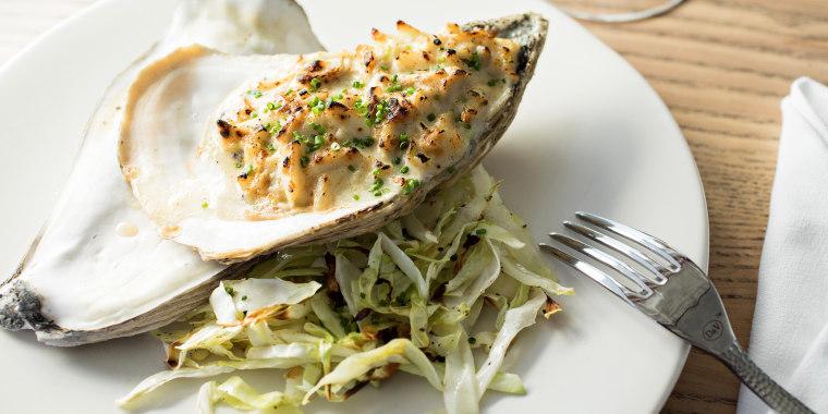 Enjoy decadent, salty Baked Oysters au Camembert.