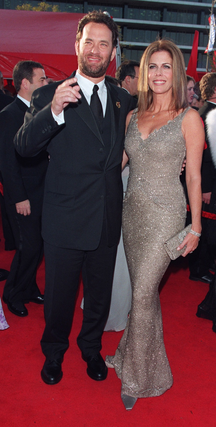 (Original Caption) Tom Hanks arrives with his wife Rita Wilson. (Photo by Frank Trapper/Corbis via Getty Images)