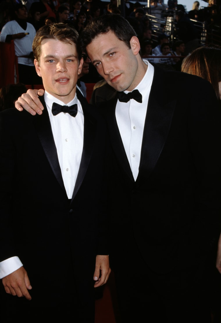 LOS ANGELES, CA - MARCH 21:  Actors Matt Damon and Ben Affleck attend The 71st Annual Academy Awards - Arrivals on March 21, 1999 at the Dorothy Chandler Pavilion in Los Angeles, California.  (Photo by Ron Davis/Getty Images)