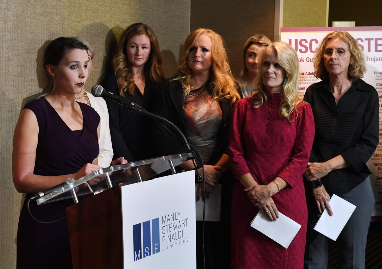 Image: A group of current and former USC students who are survivors of alleged sexual assault by gynecologist Dr. George Tyndall speak out during a press conference