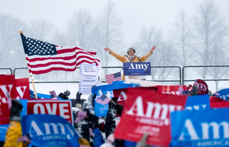 Image: Sen. Amy Klobuchar, D-Minn., announces her candidacy for president in Minneapolis on Feb. 10, 2019.