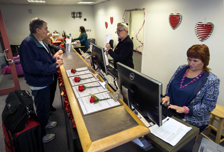 To accommodate all the lovebirds who want to get married in Las Vegas around Valentine's Day, the Clark County clerk's office sets up a temporary office Feb. 13-16 at McCarran International Airport.