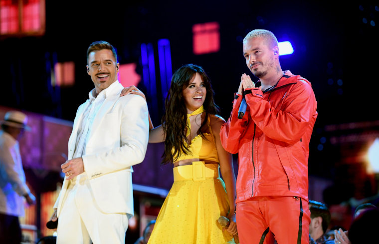 Image: Ricky Martin, Camila Cabello and J Balvin perform at the GRAMMY Awards in Los Angeles on Feb. 10, 2019.