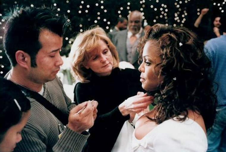 Image: Tym Buacharern applies makeup to Janet Jackson