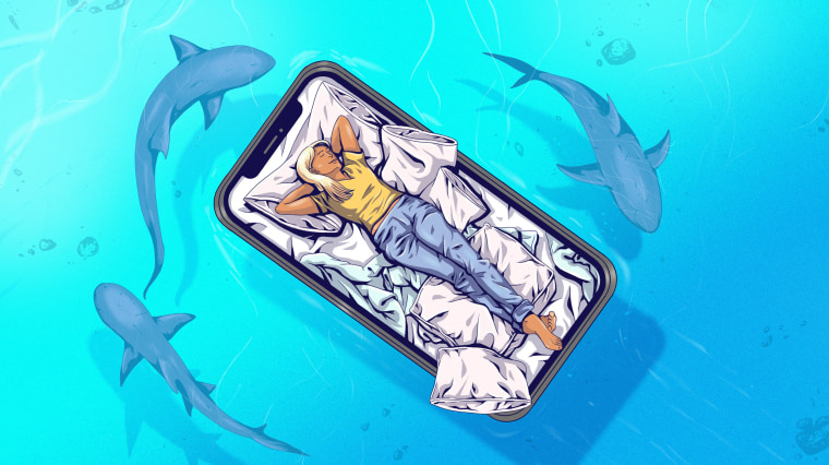 Illustration of a sleeping woman on floating phone bed while sharks lurk below.
