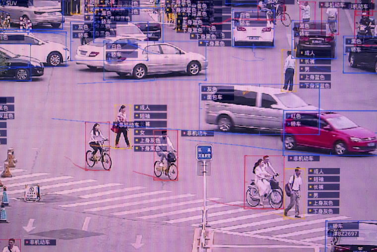 Image: SenseVideo pedestrian and vehicle recognition system at the company's showroom in Beijing on June 15, 2018.