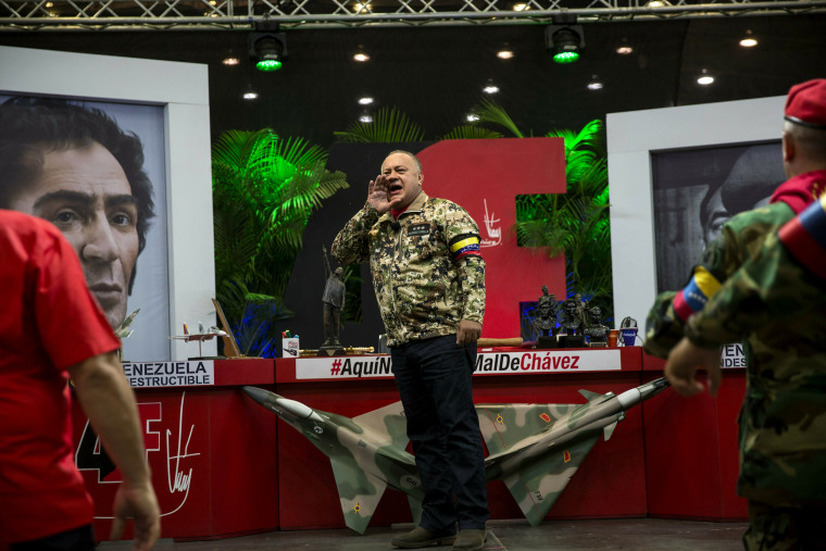 Image: Diosdado Cabello, leader of the ruling socialist party, chants during his weekly TV program in Maracay, Venezuela, on Feb. 6, 2019.
