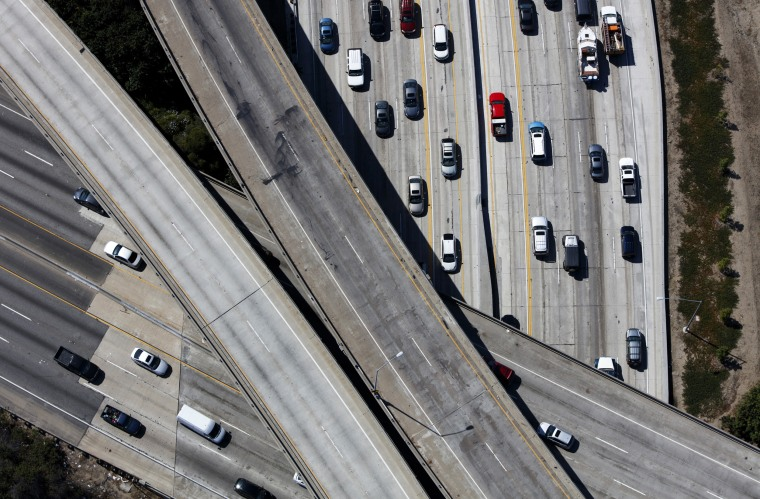 Image: Cars on Interstate 405 during rush hour in Westwood, Los Angeles, on July 10, 2015.