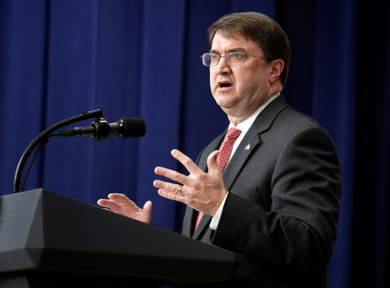 "U.S. Secretary of Veterans Affairs Robert Wilkie speaks before U.S. President Donald Trump at an event for ""supporting veterans and military families\"" at the White House in Washington"