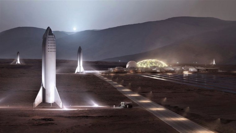 Image: SpaceX starship vehicles on Mars, illustration