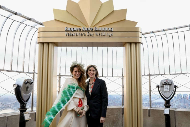 Image: Helena Barquet and Fabiana Faria following their Valentine's Day wedding ceremony at the Empire State Building in New York on Feb. 14, 2019.