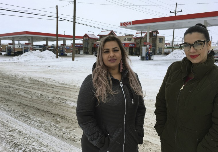 Image: Martha Hernandez, left, and Ana Suda in front of the convenience store where they were detained by a U.S. Border Patrol agent for speaking Spanish in Havre, Montana, on Jan. 23, 2019.