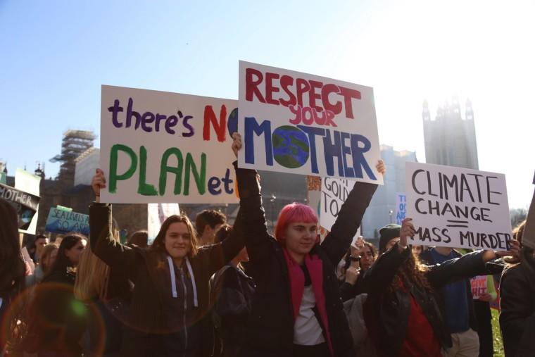 Image: Orla Supple, 18, and Tallulah Guard, 17, take part in the student climate march in Parliament Square