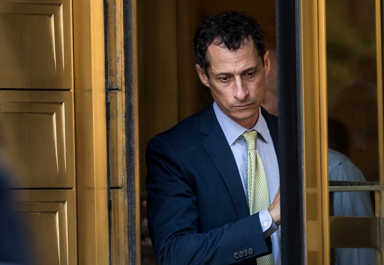 Anthony Weiner leaves Manhattan Federal Court in New York on Sept. 25, 2017.