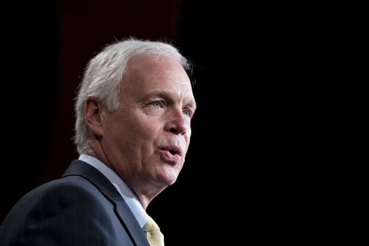 Sen. Ron Johnson, R-Wisc., speaks during the Senate Republicans' news conference in the Capitol on June 19, 2018.