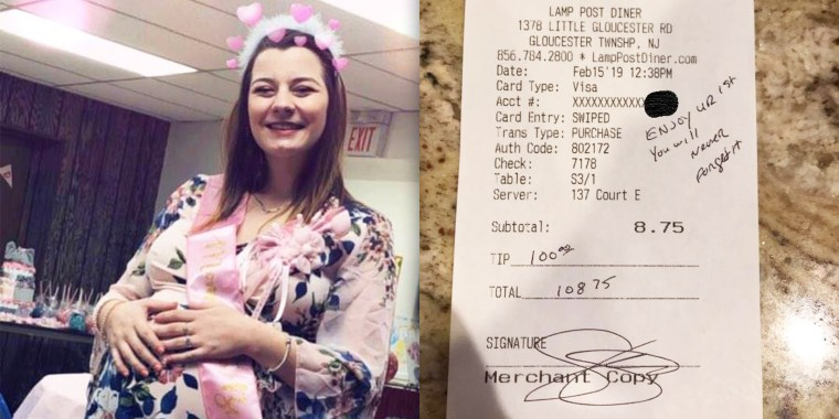 """What a wonderful person to not only leave a VERY generous tip, but a lovely message, I don't know you Mr. Police Officer, but you made my little girl cry, and made her year."""