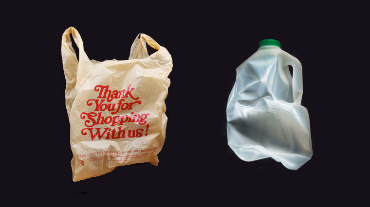 Photo illustration of a plastic bag and empty milk carton.